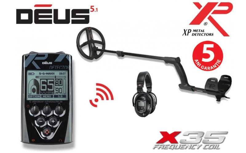 Xp DEUS v5.1 cu bobina X35 de 28 cm cu telecomanda si casti WS5