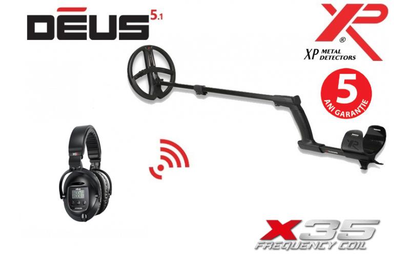 XP Deus v5.1 cu bobina X35 de 28 cm si casti WS5 ( fara telecomanda)